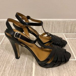 Tahari Black Leather T-Strap Heels